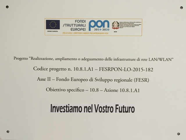 Targa Progetto PON LAN-WLAN